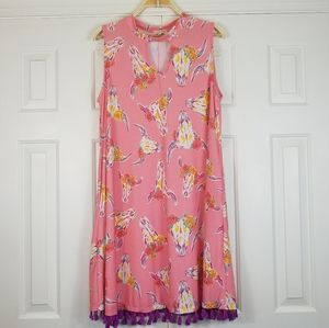 Simply Southern Pink Bull Printed Swing Dress